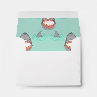 Shark Heads & Fins in Grey on Aqua w/ Ripples Envelope