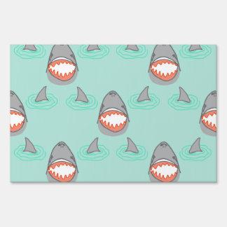 Shark Heads & Fins in Grey on Aqua w/ Ripples Lawn Sign
