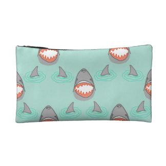 Shark Heads & Fins in Grey on Aqua w/ Ripples Makeup Bag