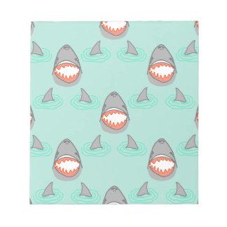 Shark Heads & Fins in Grey on Aqua w/ Ripples Notepad