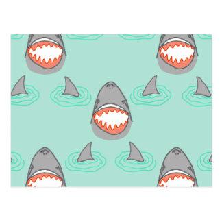 Shark Heads & Fins in Grey on Aqua w/ Ripples Postcard
