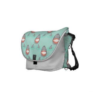 Shark Heads & Fins in Grey on Aqua w/ Ripples Small Messenger Bag