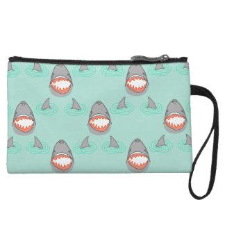 Shark Heads & Fins in Grey on Aqua w/ Ripples Wristlet Wallet