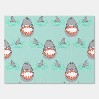 Shark Heads & Fins in Grey on Aqua w/ Ripples Yard Sign