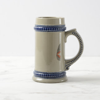 Shark heads & Fins in Grey on White/Aqua Ripples Beer Stein
