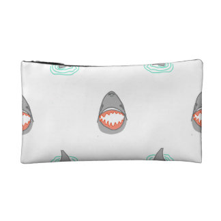 Shark heads & Fins in Grey on White/Aqua Ripples Cosmetic Bag
