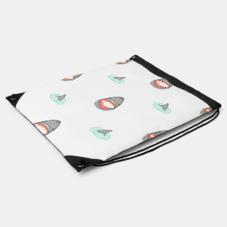 Shark heads & Fins in Grey on White/Aqua Ripples Drawstring Backpack