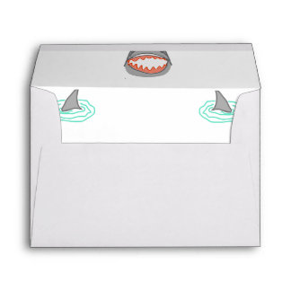 Shark heads & Fins in Grey on White/Aqua Ripples Envelope