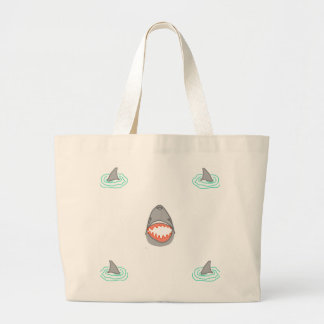 Shark heads & Fins in Grey on White/Aqua Ripples Large Tote Bag