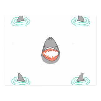 Shark heads & Fins in Grey on White/Aqua Ripples Postcard