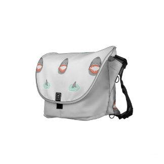 Shark heads & Fins in Grey on White/Aqua Ripples Small Messenger Bag