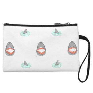 Shark heads & Fins in Grey on White/Aqua Ripples Wristlet Wallet