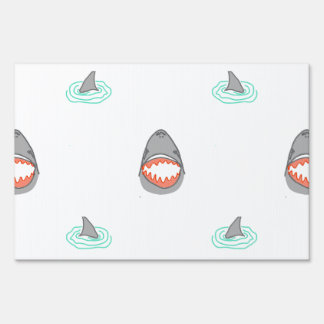 Shark heads & Fins in Grey on White/Aqua Ripples Yard Sign