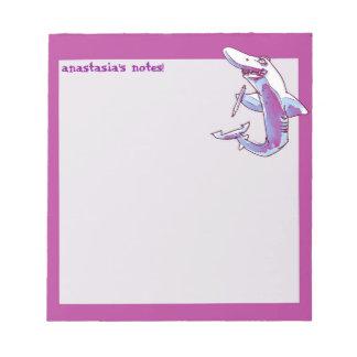 shark holds pencil funny cartoon customizable notepad