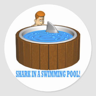 Shark In A Swimming Pool Classic Round Sticker