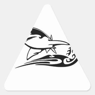 Shark in Flames Triangle Sticker