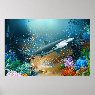 Shark In Ocean Print