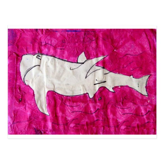 shark in pink paper postcard