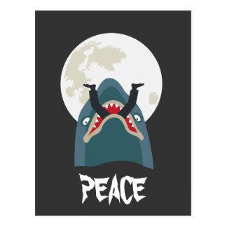 Shark in the moon night postcard