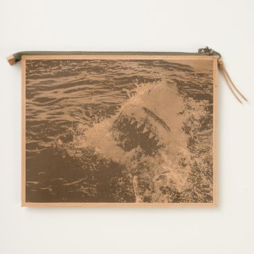 Beach Themed Shark in the water travel pouch