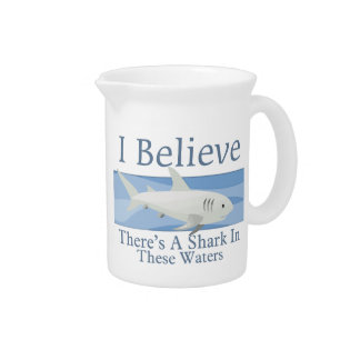 Shark In These Waters Drink Pitcher