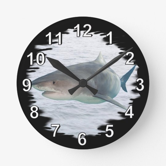 Shark in water round clock