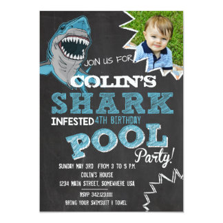 SHARK INFESTED Birthday Party Invitation