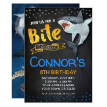 Shark Invitation, Pool Birthday Party, Chalkboard Invitation