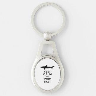 Shark - Keep Calm and Swim Fast Keychain