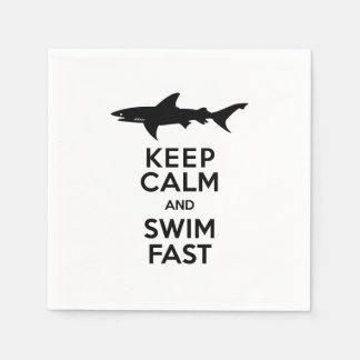 Shark - Keep Calm and Swim Fast Paper Napkin