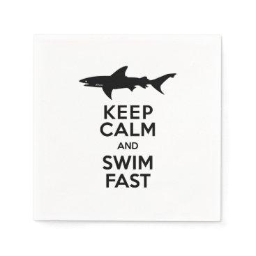 antiqueimages Shark - Keep Calm and Swim Fast Paper Napkin