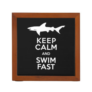 Shark - Keep Calm and Swim Fast Reversible Desk Organizer