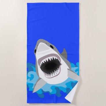 Beach Themed Shark Leaps from the Waves Scuba Diver Beach Towel
