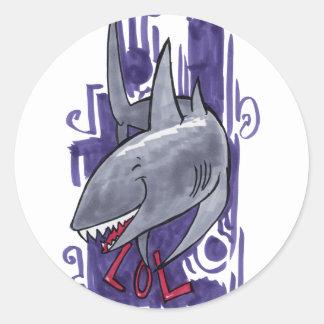 Shark LOL Classic Round Sticker