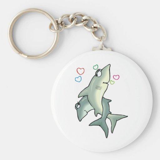 Shark Love Basic Round Button Keychain