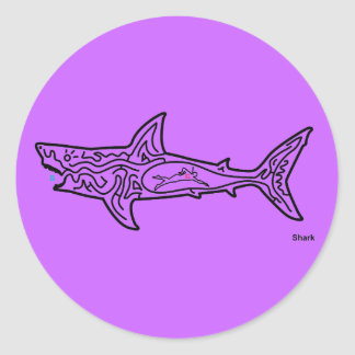 Shark Maze Classic Round Sticker