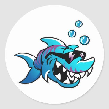 Beach Themed Shark, Meet Me at the Beach, Funny, Classic Round Sticker