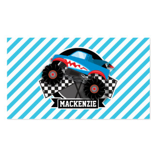 Shark Monster Truck; Checkered Flag; Blue Stripes Business Card Templates