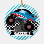 Shark Monster Truck; Checkered Flag; Blue Stripes Ceramic Ornament