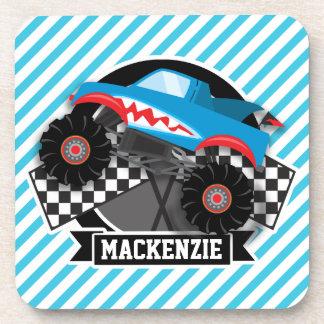 Shark Monster Truck; Checkered Flag; Blue Stripes Beverage Coasters