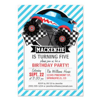 """Shark Monster Truck; Checkered Flag; Blue Stripes 5"""" X 7"""" Invitation Card"""