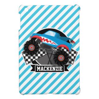 Shark Monster Truck; Checkered Flag; Blue Stripes iPad Mini Cover