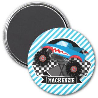 Shark Monster Truck; Checkered Flag; Blue Stripes Magnets