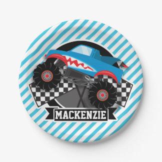 Shark Monster Truck; Checkered Flag; Blue Stripes Paper Plate