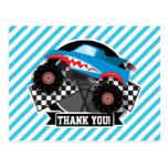 Shark Monster Truck; Checkered Flag; Blue Stripes Postcard