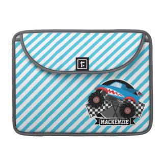 Shark Monster Truck; Checkered Flag; Blue Stripes Sleeve For MacBook Pro