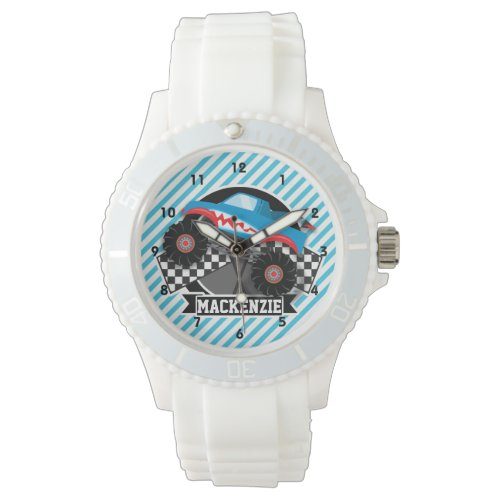 Shark Monster Truck; Checkered Flag; Blue Stripes Watch