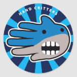 Hand shaped Shark mouth classic round sticker