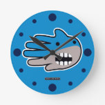 Hand shaped Shark mouth round clock