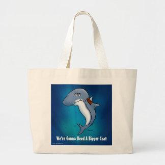 Shark Needs A Bigger Coat Funny Blue Bag